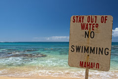 No swimming danger sign in hawaii stock photos