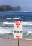No swimming danger sign Tunnels Beach Stock Image