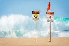 No swimming, dangerous shorebreak stock photography