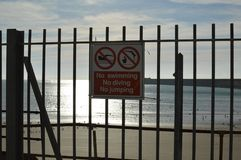 No swimming diving or jumping sign. Stock Image