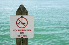 No Swimming Or Fishing Sign Stock Photography
