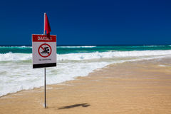 No swimming flag on the beach in Australia Royalty Free Stock Photo