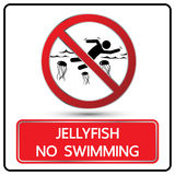 No swimming jellyfish sign and symbol vector Royalty Free Stock Images