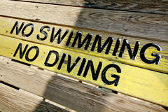 No Swimming No Diving Sign Royalty Free Stock Photography