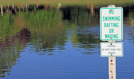 No Swimming Rafting Wading Feeding Geese Sign Royalty Free Stock Image