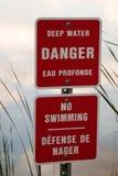 No Swimming sign. Sign near a pond warning of deep water no swimming Stock Photos