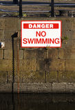 No Swimming sign. Danger No Swimming sign in a marina royalty free stock image