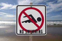 No Swimming Sign. With Pacific ocean surf Stock Photography
