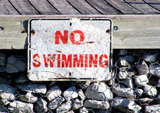 No Swimming Sign. A no swimming sign posted on boat dock Royalty Free Stock Image