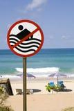 No swimming sign at beach Stock Image
