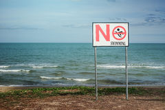 No swimming sign on a beach Royalty Free Stock Photo