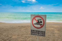 No swimming sign on beach . Stock Image