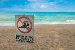 No swimming sign on  beach . Royalty Free Stock Photos