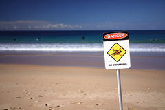 No swimming sign at Beach Stock Photography
