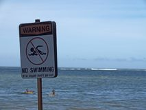 No Swimming Sign - Danger Concept - People in Water royalty free stock photo
