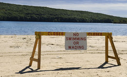No swimming sign at lake Royalty Free Stock Photography