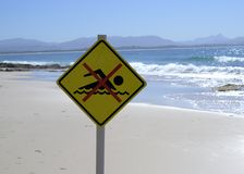 No Swimming Sign Post At Beach In Australia Stock Photography