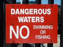 No Swimming Sign. Red sign about dangerous waters, no swimming or fishing Stock Photos