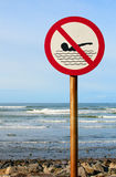 No swimming sign with rough sea Royalty Free Stock Photography