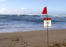 No swimming sign warns of high surf in Hawaii Stock Photography