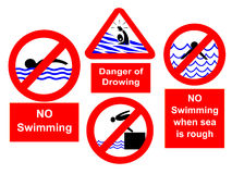 No swimming signs. No swimming during rough seas or diving signs Stock Photo