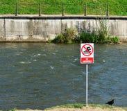No swimming warning sign on a river bank Royalty Free Stock Photography