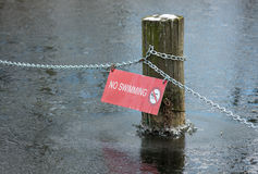 No Swimming In Winter Royalty Free Stock Photos
