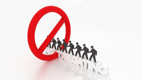 No tailgating sign with people violating it cybersecurity concep Stock Photography
