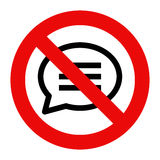 No talking sign. No speaking symbol Stock Photography