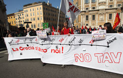 NO TAV protest in Rome. Rome (Italy) March 9, 2012: protest against the italian high speed train project (TAV) in the Piedmont region Royalty Free Stock Image