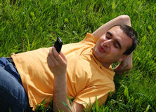 No telefone Imagem de Stock
