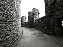 No telhado, para dentro do castelo medieval de Gravensteen do castelo das contagens no dia nebuloso, nas paredes de pedra e na ba fotografia de stock