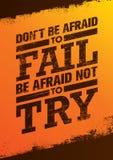No tenga miedo de fallar tenga miedo de no intentar cita creativa de la motivación Concepto excepcional del cartel de la tipograf Foto de archivo libre de regalías
