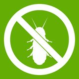 No termite sign icon green. No termite sign icon white isolated on green background. Vector illustration Stock Photo