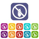 No termite sign icons set. Vector illustration in flat style In colors red, blue, green and other Royalty Free Stock Photo