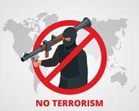 No terrorism. Stop terror sign anti terrorism campaign badge on world map. Flat 3d illustration. Royalty Free Stock Photo