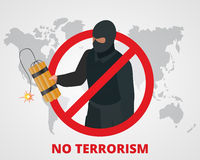 No terrorism. Stop terror sign anti terrorism campaign badge on world map. Flat 3d illustration. Royalty Free Stock Photos
