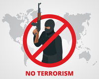 No terrorism. Stop terror sign anti terrorism campaign badge on world map. Flat 3d illustration. Royalty Free Stock Images