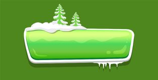 No Text Glossy Web Push Button Covered Snow Vector. No text glossy web push button covered with snow, decorated by Xmas trees vector online shopping sign royalty free illustration