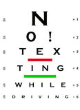 No! Texting While Driving Eye Chart. An eye chart with the words NO! TEXTING WHILE DRIVING Royalty Free Stock Images