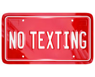 No Texting License Plate Warning Danger Text Message Royalty Free Stock Image