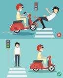 No texting, no talking. Right and wrong ways. For riding a scooter to prevent an accident. Vector illustration stock illustration