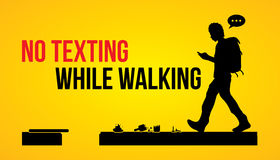 No texting while walking. Banner graphic vector Royalty Free Stock Photos