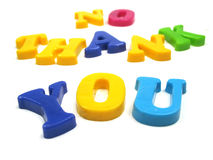 No thank you. The words no thank you spelled out Stock Photos