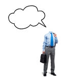 No thoughts in his head. Faceless businessman on white background with speech bubble instead of head Stock Images