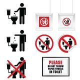 No throw paper towels in toilet sign set illustration. In colorful vector illustration