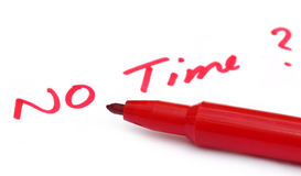 No Time written in wihite paper. With red pen royalty free stock photos