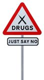 No To Drugs. Road sign indicating Just Say No To Drugs (isolated on white stock image