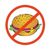 No to high calorie food. No sandwich royalty free illustration