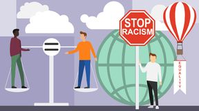 No to racism. African and European are on the balance of weights. There is no gender or sexual discrimination against. People. Vector illustration of equality stock illustration